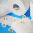 Toilet paper with camomile — Stock Photo