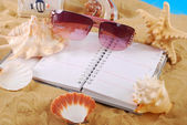 Diary for summer holidays memories — Stock Photo