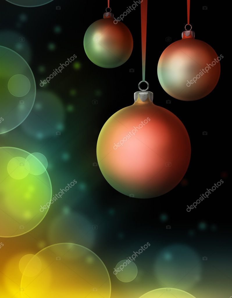 Three christmas baubles on dark background with bokeh effect. 3d render — Foto Stock #11930236