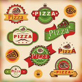 Vintage pizza labels — Stock Vector