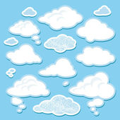 Vector set cartoon wolken — Stockvector