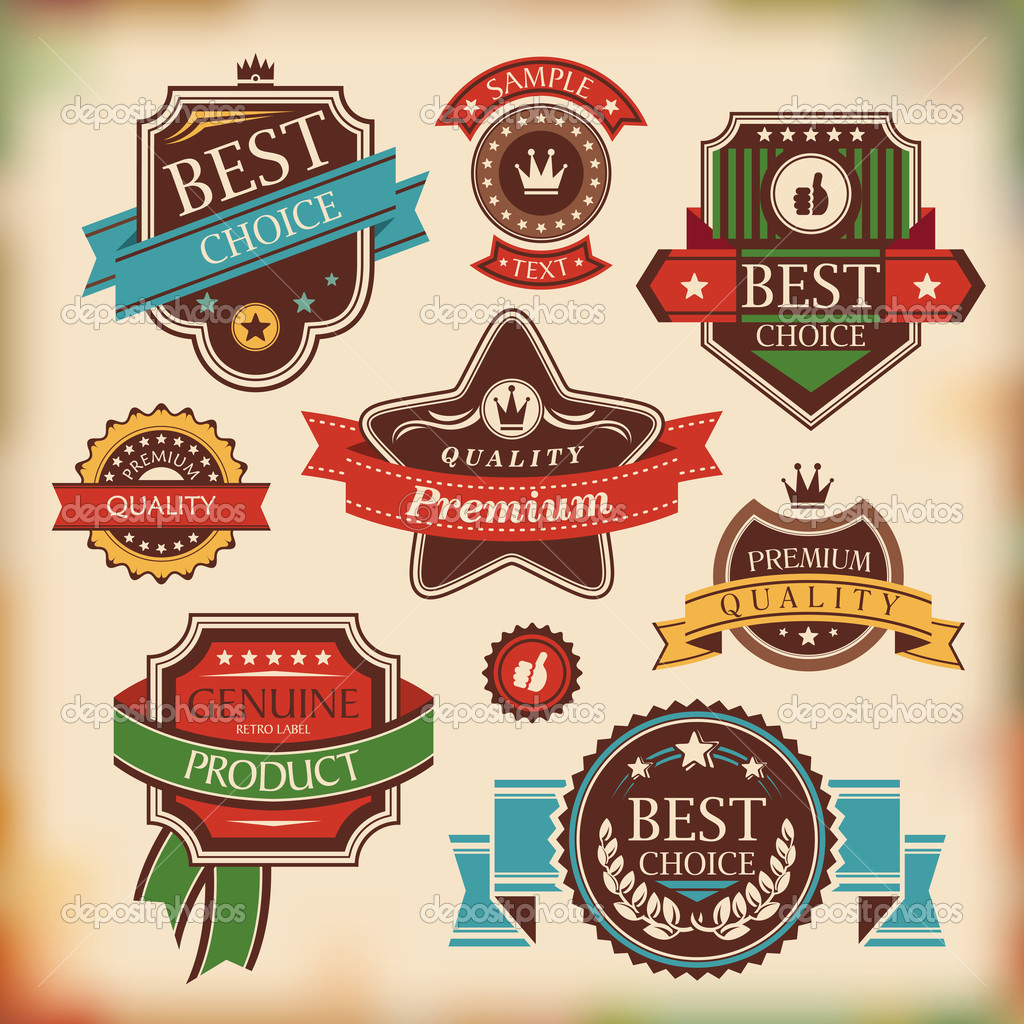 Set of vintage labels and badges vector illustration — Stock Vector #12410397