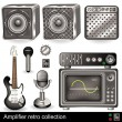 Amplifier retro collection — Stockvectorbeeld