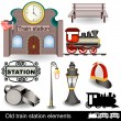 Old train station elements — Stock Vector