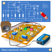 Retro electronic device — Vector de stock