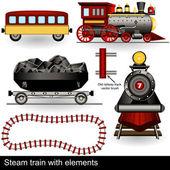 Buharlı tren elemanları ile — Stok Vektör
