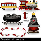Steam train with elements — Stok Vektör