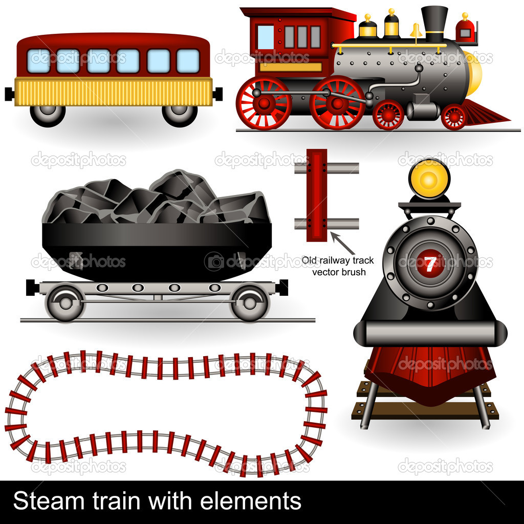Illustration of two steam trains in different positions along with wagons and a railway track. — Stock Vector #11596500