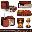Stock Vector: Vintage audio icons 2