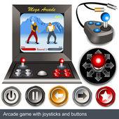 Jeu d'arcade avec des boutons et manettes de jeu — Vecteur