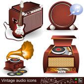 Vintage ljud ikoner 1 — Stockvektor