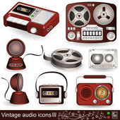 Vintage audio icons 3 — Stock Vector