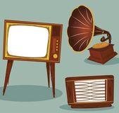 Retro TV , radio and gramophone — Stock Vector
