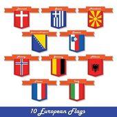 Set of 10 European flags — Stock Vector