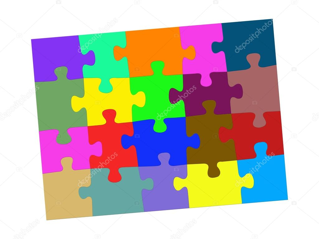Jigsaw illustrations isolated against a white background — Stock Photo #12261791