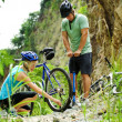Stock Photo: Mountain bike trouble