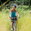Mountainbike couple outdoors - Foto Stock