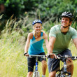Mountainbike couple outdoors — Stock Photo #11355895