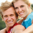 Smiling joy happy blonde couple — Stock Photo #11356000