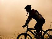 Mountainbike man utomhus — Stockfoto