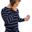 Telephone and credit card man — Stock Photo