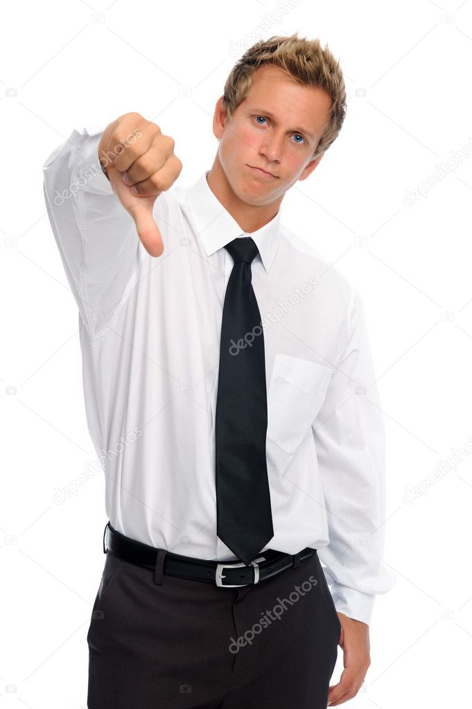 Disappointed entrepreneur frowns and has thumbs down — Stock Photo #11362275