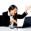 Businesswoman stressed out — Stock Photo