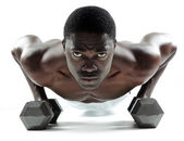 Dumbbell push ups — Stock Photo