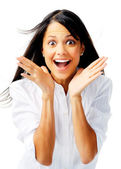 Excited ethnic woman — Stock Photo