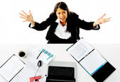 Stressed businesswoman — Stockfoto