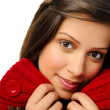 Warm model with red knitted top — Stock Photo