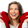 Winter girl laughs in studio — Stock Photo #11489424