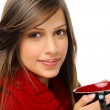 Happy winter woman with soup — Stock Photo