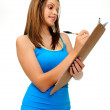 Student with clipboard — Stock Photo