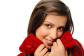 Knitted red winter warm smile — Stock Photo