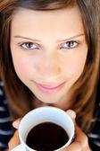 Rostro de mujer con café — Foto de Stock