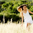 Skipping beauty outdoors - Stockfoto