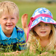 Adorable blonde children outdoors — Stock Photo #11490328