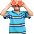 Fruit young boy fun — Stock Photo
