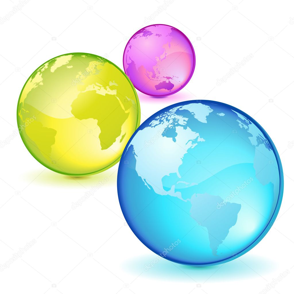 Three lighted transparent globes, colors and nations — Stock Vector #11472557
