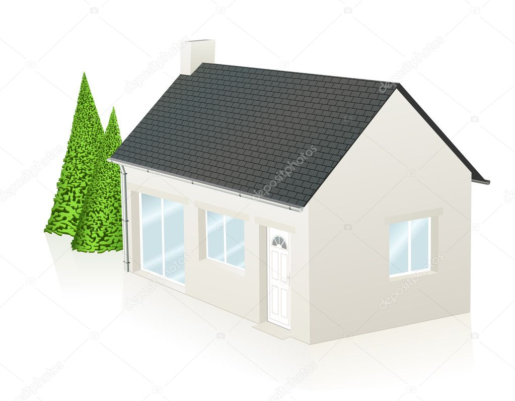 Vector illustration of a little contemporary house — Stock Vector #11472589