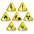 Set of warning signs — Stock Vector