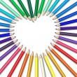Colored pencils heart — Stock Vector