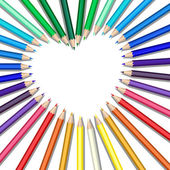Colored pencils heart — Stock Vector