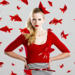 Fashion woman with red fishes - Photo