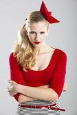 Mulher de vermelho — Foto Stock