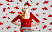 Fashion woman with red fishes — Stock Photo