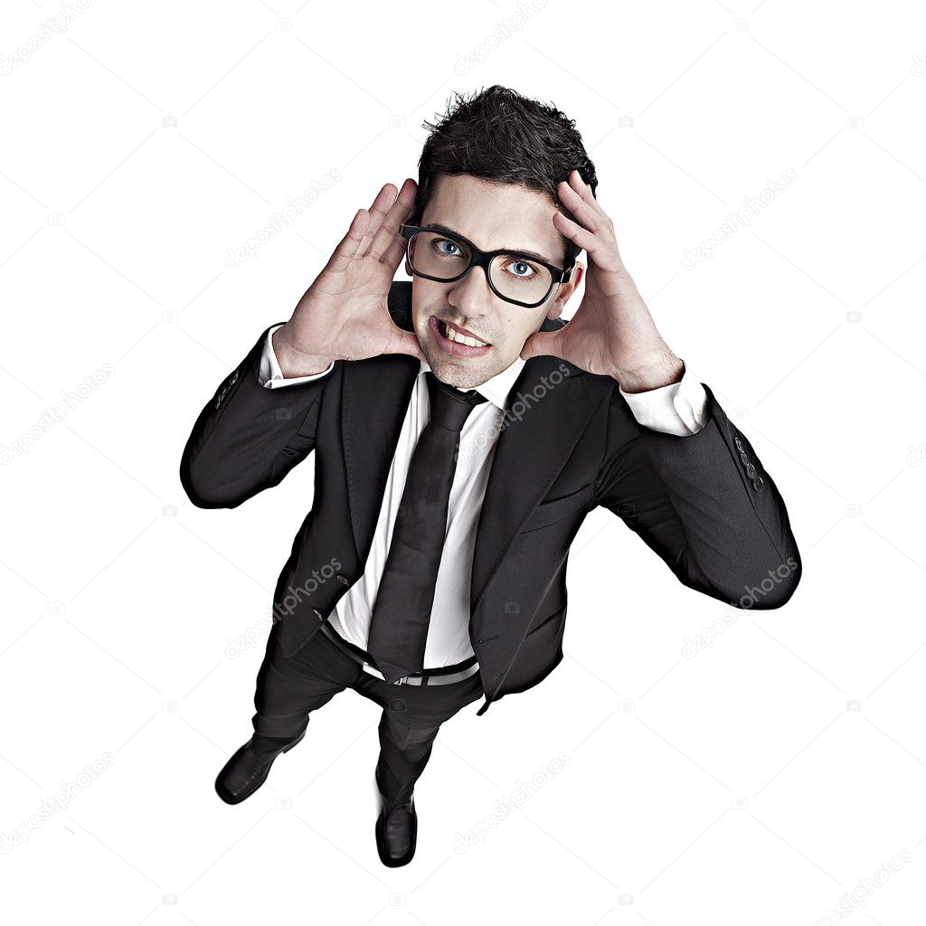 Funny portrait of a young businessman with a nerd glasses — Stock Photo #11786746