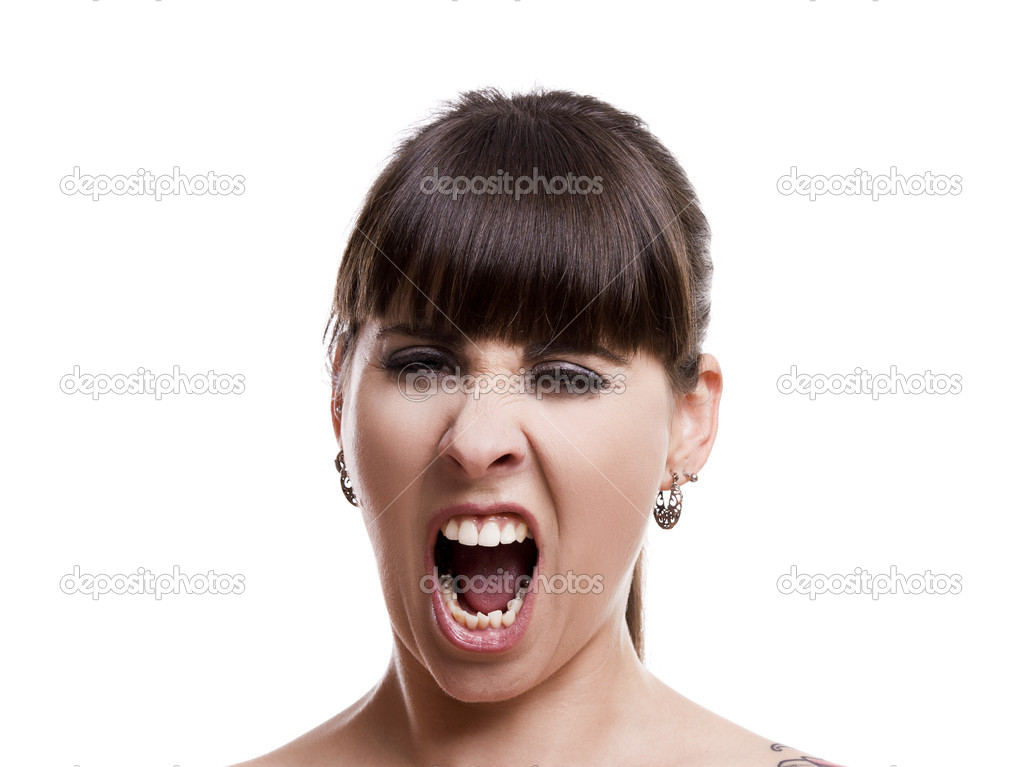 Close-up portrait of a angry woman shouting, against white background — Stock Photo #11786781