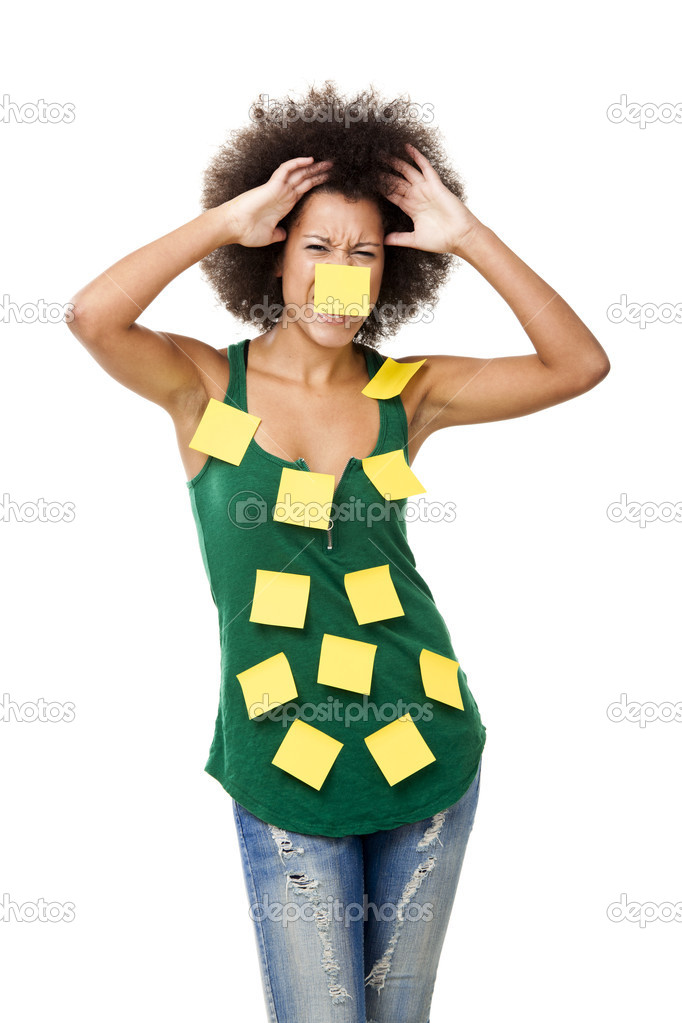 Beautiful young woman covered with post it notes all over the body, isolated on white background  Stock Photo #11786973